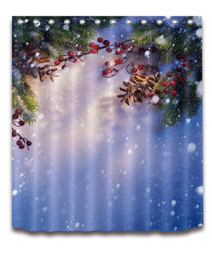 LB Frohe Weihnachten Duschvorhang Haus Dekor/Kiefer,Schöner Schnee ...
