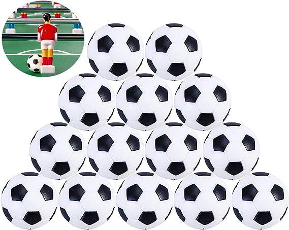 Liuer Futbolín Bolas Foosball 14PCS Reemplazos de Pelotas de fútbol DE 32 mm 36mm Mini Negro Blanco Foosball de Mesa Tamaño Estándar Balones de Fútbol ABS Plástico para Juego de Juguete Infantil: