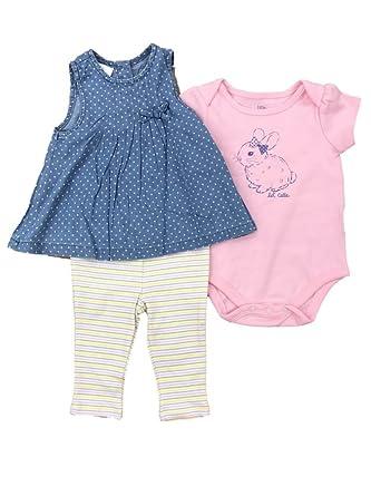 88d2b0f1112e Amazon.com  Infant Girls Bunny Rabbit Bodysuit Denim Star Dress ...