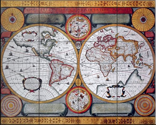 Antique Map  Terre Universelle  1594 By Petro Plancia   Kitchen Backsplash   Bathroom Wall Tile Mural