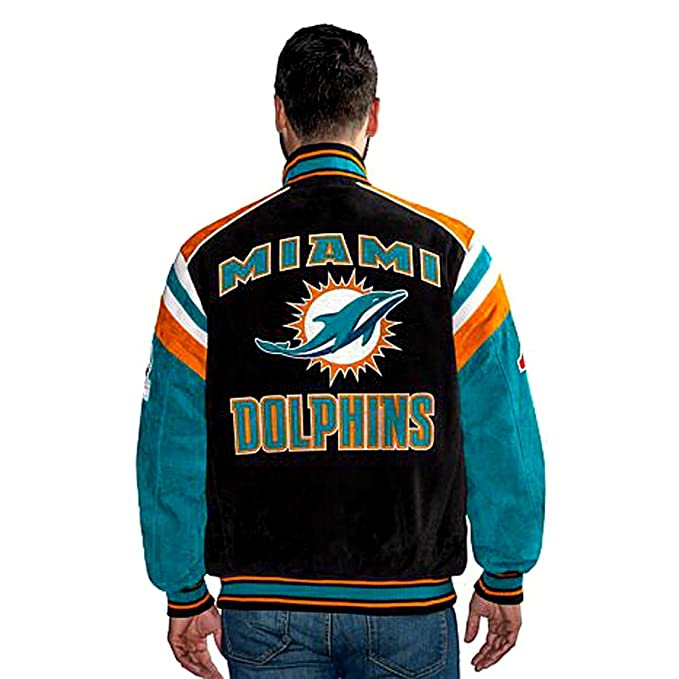 new styles 14db9 01cd1 G III Miami Dolphins Suede Leather Jacket NFL Dolphins Asst ...