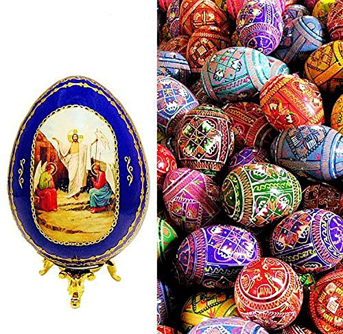 Set of 5 Ukrainian Wooden Easter Eggs Pysanky with Blue Resurrection Icon Egg 4 1/4 Inch