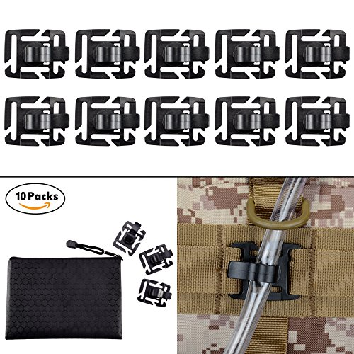 Pack of 10 Tactical Military Hydration Tube Clips Water Tube Clip MOLLE Webbing Attachment 360°Rotatable by BOOSTEADY