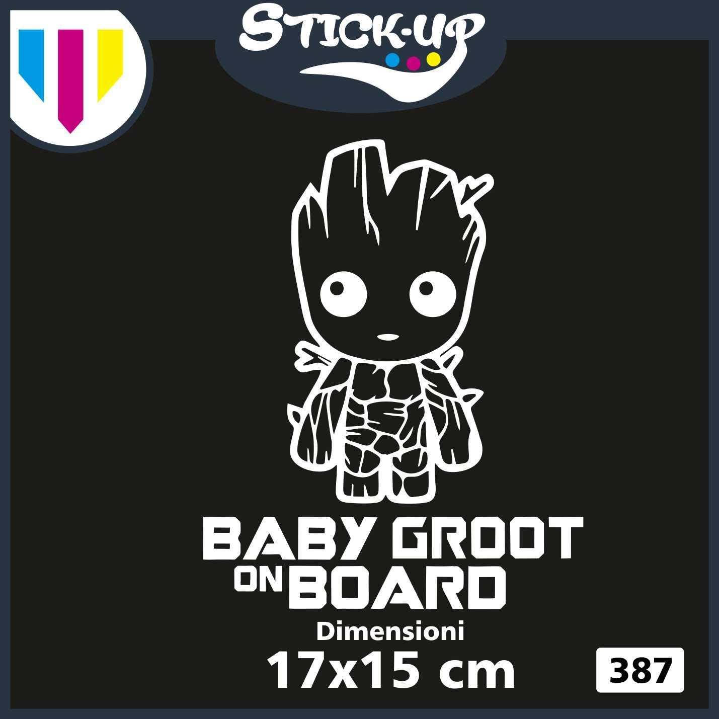 Dimensions 20x25 cm Baby on Board Tuning Sticker for Car Motorcycle Custom Decal Child Child On Board Bianco Stick-up sticker logistic sticker Groot -Baby Groot ON Board
