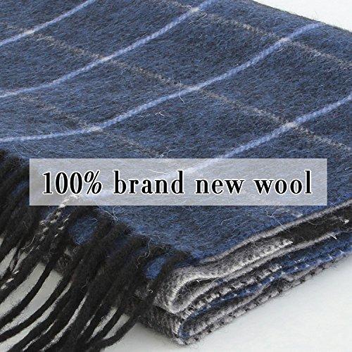Erigaray 100% Wool Mens Scarf Plaid Winter Warm Fashion knit Scarfs For Men by Erigaray (Image #5)