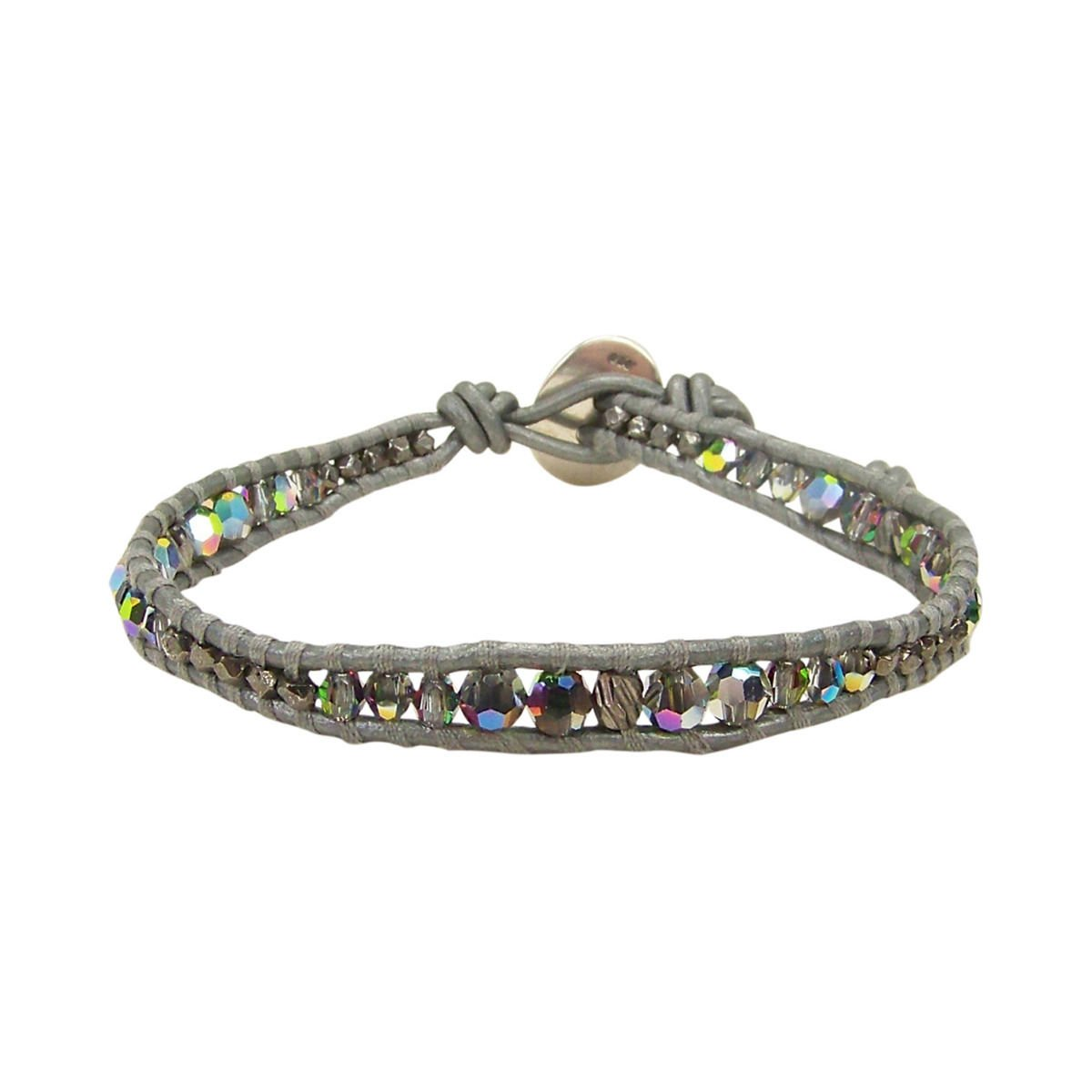 Chan Luu Multicolor Iridescent Swarovski Crystal Single Wrap Bracelet