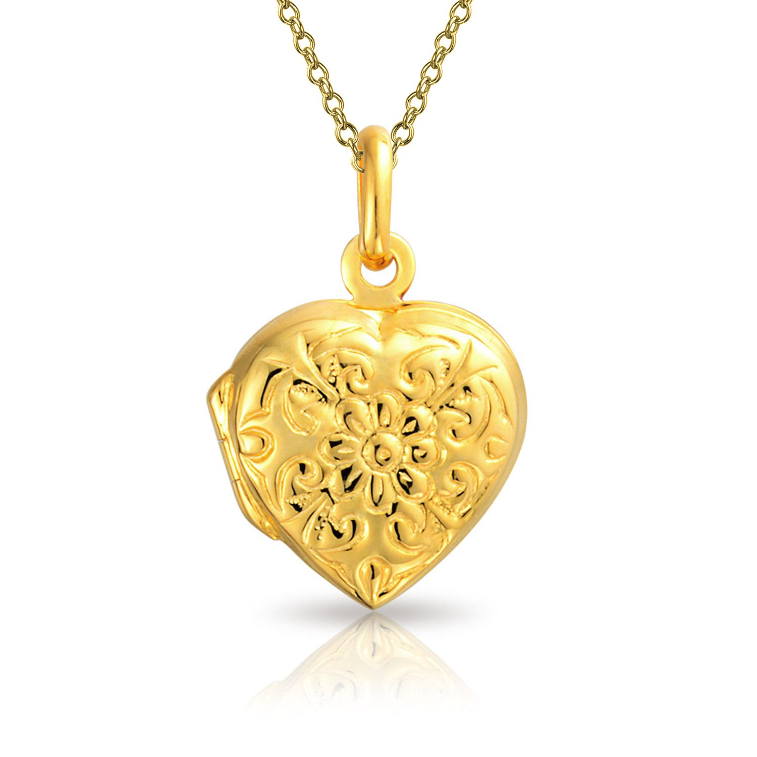 Flower Etched Heart Shaped Locket Gold Plated Pendant by Bling Jewelry