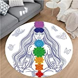 Nalahome Modern Flannel Microfiber Non-Slip Machine Washable Round Area Rug-Spiritual Girl in Lotus with Colorful Chakra Stones Yoga Meditation Relax Zen Theme Multi area rugs Home Decor-Round 36''