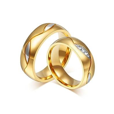 df28c6da16a BOBIJOO Jewelry - Alliance Anneau Doré Or Fin Acier Inoxydable Mariage  Fiançailles Couple Au Choix -