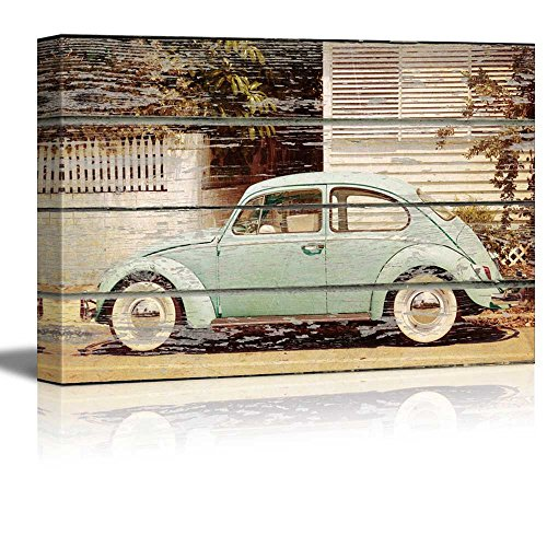 Vintage Car on Vintage Wood Textured Background Rustic Country Style Gallery
