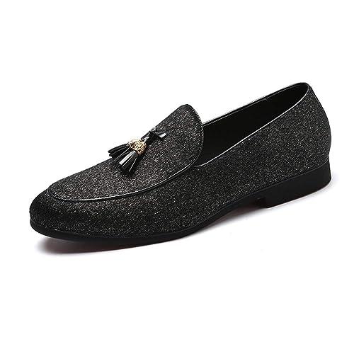 NXY De los Hombres Línea de Cuero Shiny Shimmer Borla Mocasines Ponerse Lujoso Boda Fiesta Zapatos de Vestir: Amazon.es: Zapatos y complementos