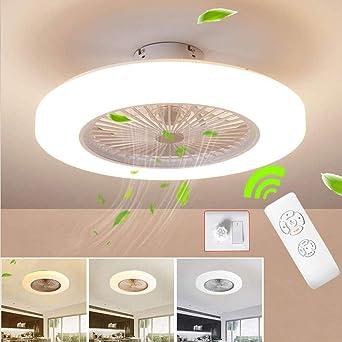 Wandun Ventilador de techo Lámpara de techo, moderna LED Ventilador De Techo Control remoto de correa regulable ...