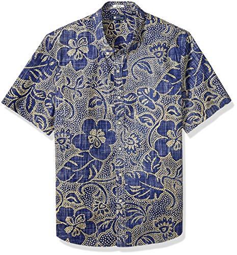Reyn Spooner Men's Tailored Fit Hawaiian Shirt, Kiko pareau - Twilight Blue, -
