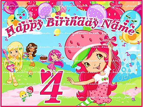 STRAWBERRY SHORTCAKE : Personalized (Round & Rectangle) edible Birthday Cake topper PLUS Cupcake toppers, premium frosting sheets - Cake Decorating Shortcake Strawberry