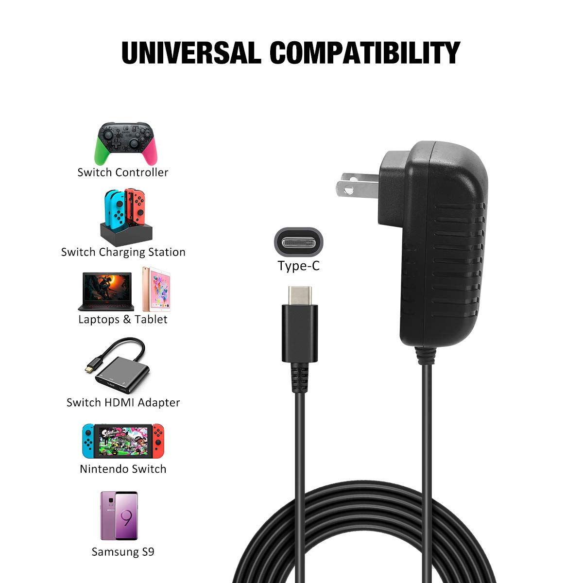 Charging Station for Nintendo Switch, Y Team 5 in 1 Charging Dock for Nintendo Switch Console and Joy Con Controller with 5FT Cable and AC Adapter