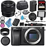 Sony Alpha a6300 Mirrorless Digital Camera (Black) ILCE6300/B + Sony FE 50mm f/1.8 Lens SEL50F18F + NP-FW50 Replacement Lithium Ion Battery + External Rapid Charger Bundle