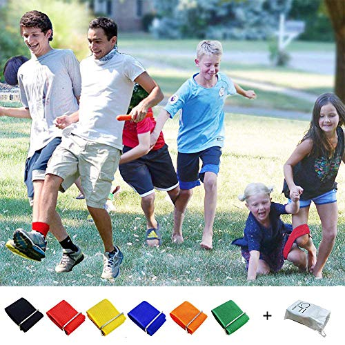 6PCS 3-Legged Race Bands Elastic Tie Rope Strap Band with 6 Assorted Colors Perfect for Relay Race Game, Carnival, Field Day, Backyard