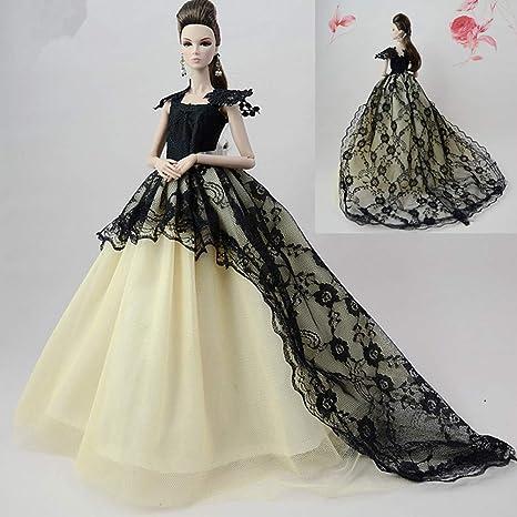 Zantec Abbigliamento per Barbie Abito da Sera Lungo Elegante per Matrimonio Abito  di Principessa per Bambole f144b9a6e2f