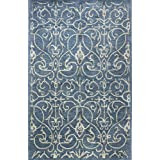 Bashian Greenwich collection HG305 hand tufted wool  amp; viscose area rug 3.9X5.9 Azure