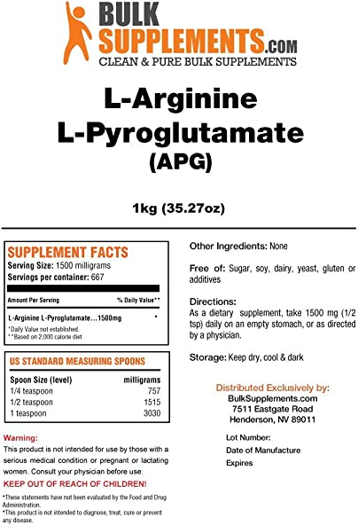 BulkSupplements L-Arginine L-Pyroglutamate Powder 1 Kilogram
