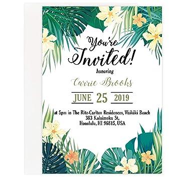Amazon Com Custom Tropical Beach Party Invitation Set Set Of 25