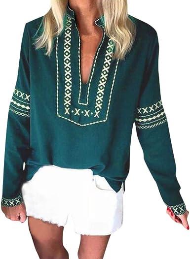 Camiseta Suelta de Mujer Boho Blusa de Manga Larga de Estilo Nacional Camisas Talla Grande Cuello Pico Bohemio Verde S: Amazon.es: Ropa y accesorios