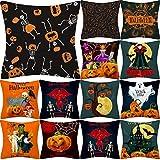 Hstore Halloween Skull Pumpkin Throw Pillow Covers