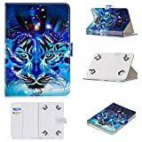 Uliking Universal Case for 9-10 inch Tablet, Slim Magnetic PU Leather Folio Stand Cover with Cards Slots for 9''-10.1'' Andriod Windows Tablet ASUS,Acer,RCA,Dell,HP,Samsung,Apple,etc, Blue Tiger