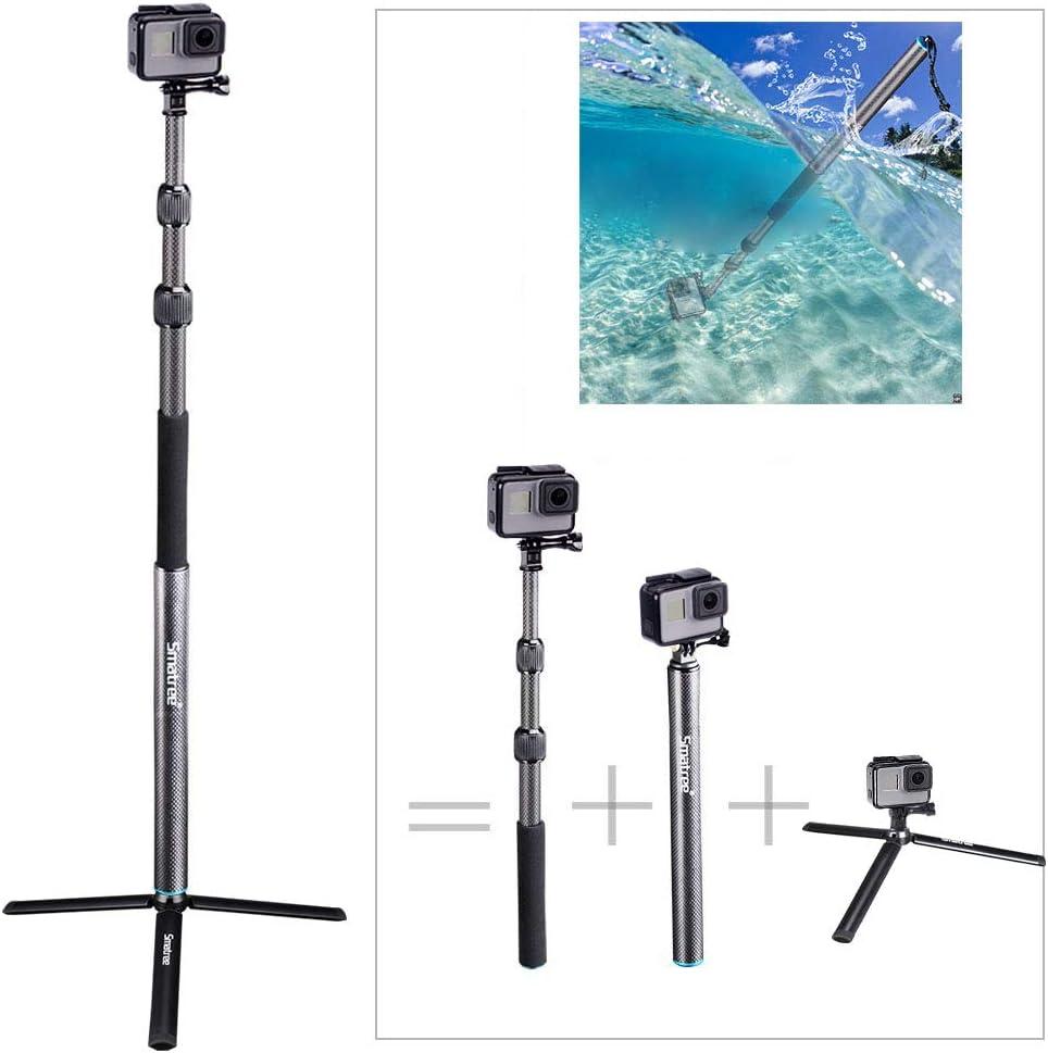 Smatree Carbon Fiber Selfie Stick Tripod Extension Monopod Compatible for GoPro Hero 8/7/6/5/4/3 plus/3/2018/Fusion/AKASO/SJCAM SJ4000 Xiaomi Yi/DJI OSMO Action Cameras with Tripod