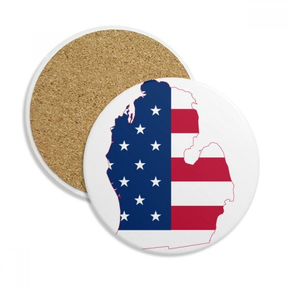 ミシガン州アメリカUSAマップ星TripesフラグストーンDrink Ceramicsコースターマグカップギフト用2ピース   B075GL6VZJ