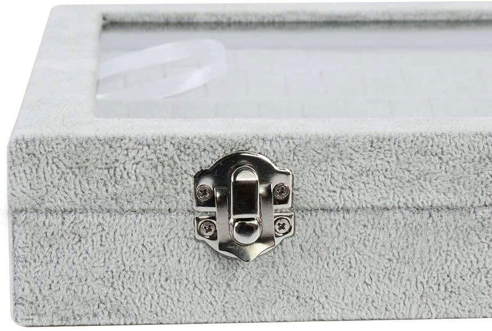 organisateurs de Bijoux Lavcus Bo/îte de Rangement en Velours avec Couvercle Transparent pour Boucles doreilles pendentifs Earrings Gris Colliers