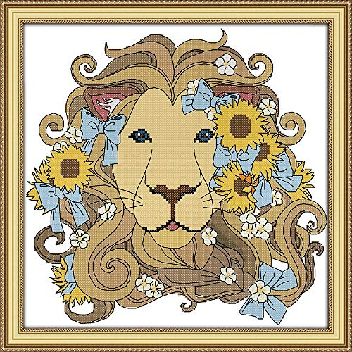 Cross Stitch Stamped Kits Quilt Pre-Printed Patterns Cross-Stitching for Beginner Kids Adults 11CT Embroidery Crafts Needlepoint Starter Kits, Lion