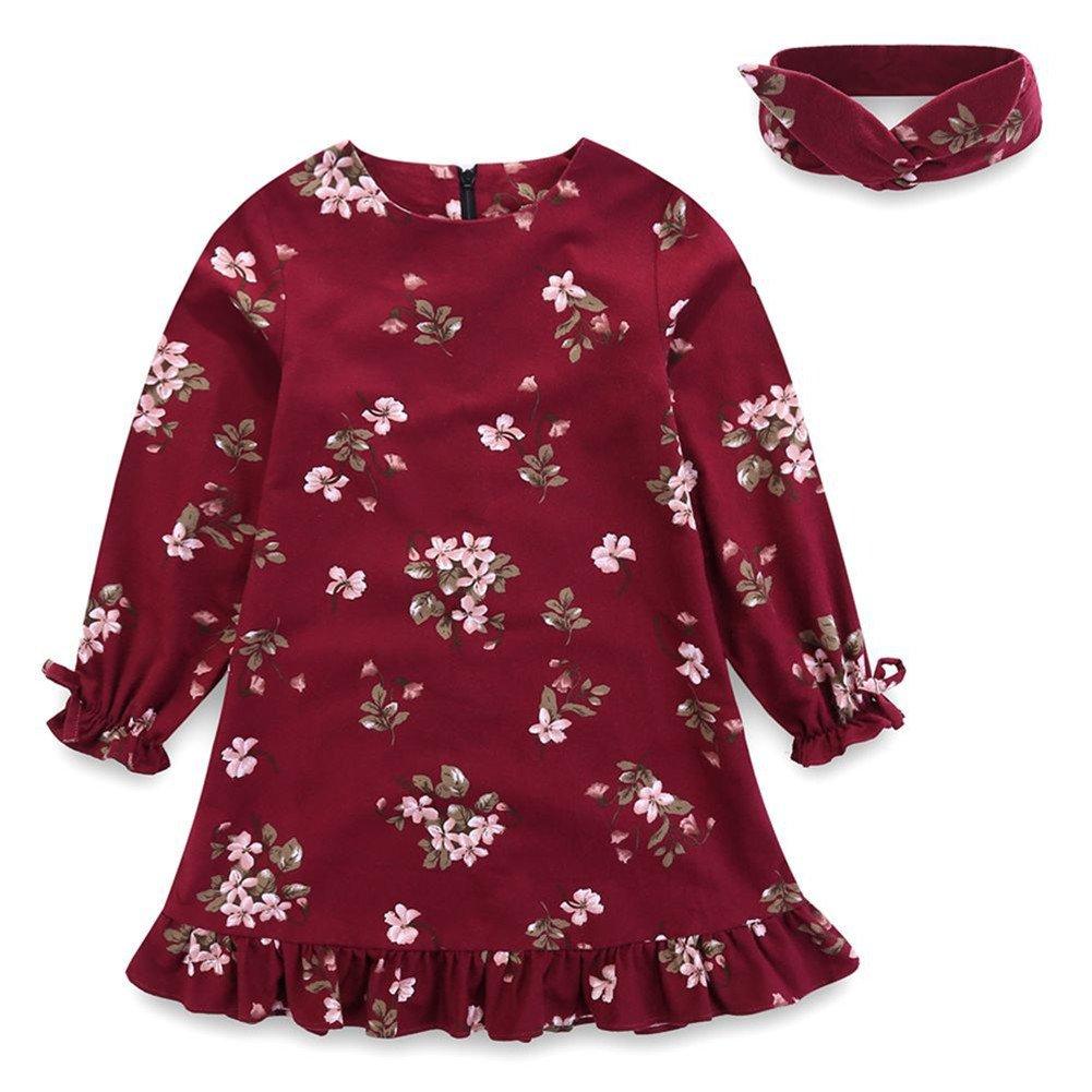 Comfybuy Baby Teen Girls Casual Floral Princess Dress Headband Set Long Sleeves Blue Claret 1-7T