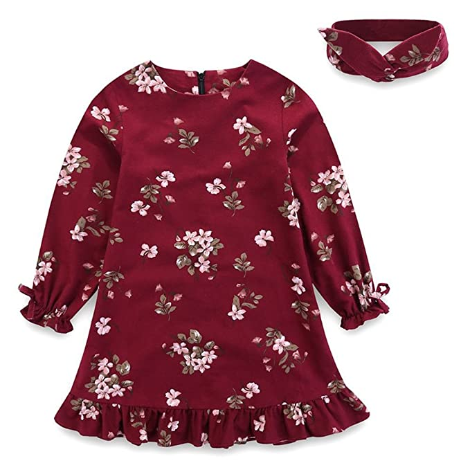 1501d50f2488 Comfybuy Baby Teen Girls Casual Floral Princess Dress Headband Set Long  Sleeves Claret 6-7T