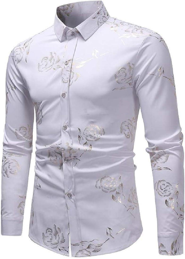YUNY Men Button-Down-Shirts Floral Design Woven Tops Dress Shirts White XS