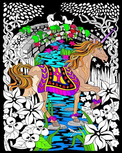 Stuff2Color - Unicorn Bridge - Fuzzy Velvet Coloring Poster