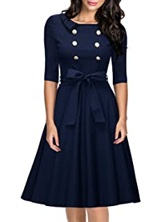 Miusol Womens Vintage 3/4 Sleeve Navy Style Belted Retro Evening Dress