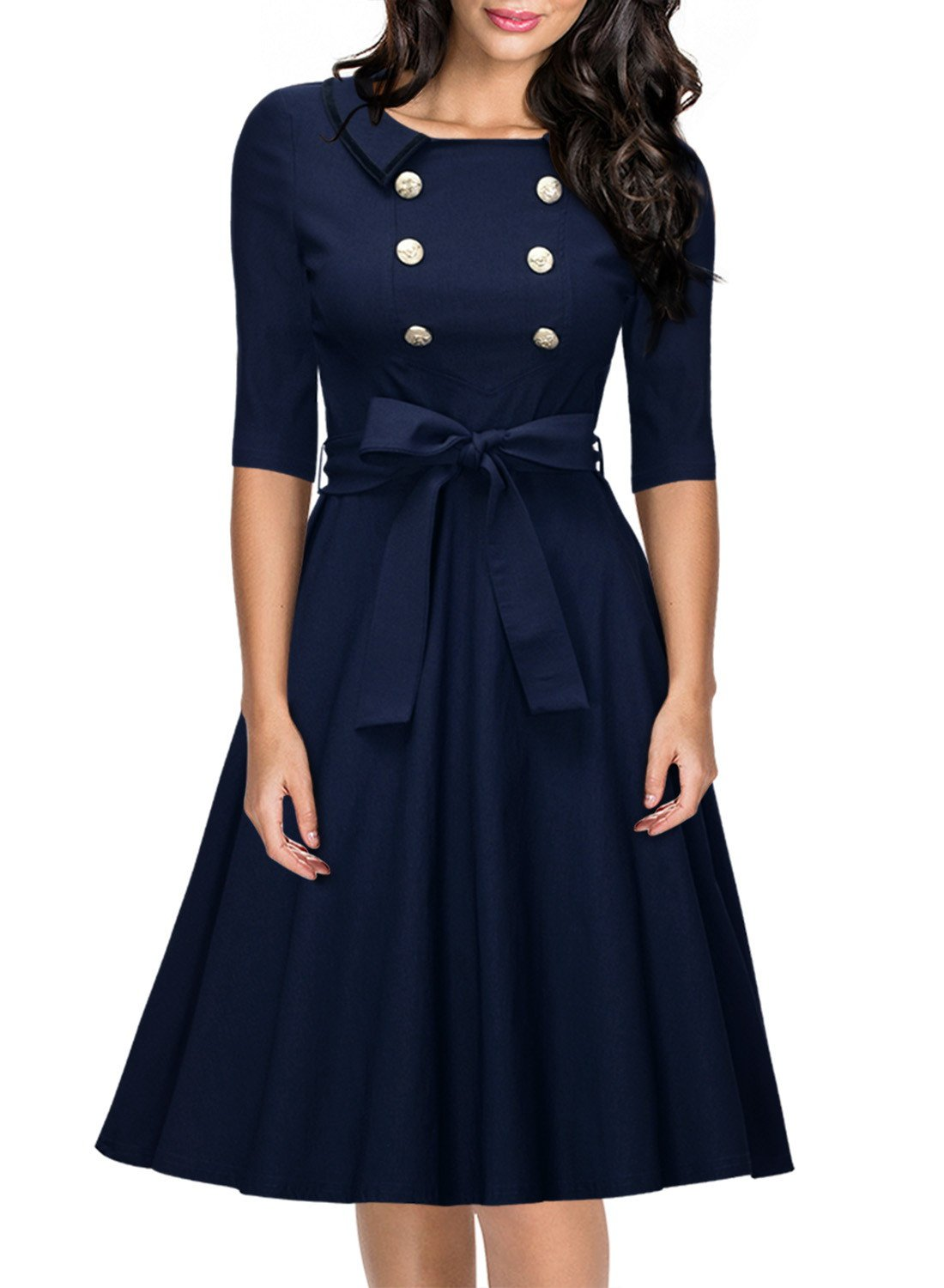 Miusol Women's 3/4 Sleeve Classy Casual Belted Vintage Retro Evening Swing Dress Navy Blue Large