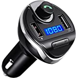 (Upgraded Version) Bluetooth FM Transmitter for Car, Wireless FM Radio Transmitter Adapter Car Kit, Dual USB Charging Ports, Hands Free Calling, U Disk, TF Card MP3 Music Player