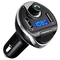 Criacr Transmetteur FM Bluetooth, Voiture Bluetooth Transmetteur FM, Appel Mains Libres, Chargeur Allume-Cigare, Chargeur Voiture, Lecteur MP3 avec Micro, 2 USB Port 5V/2.1A et 1A (Noir)