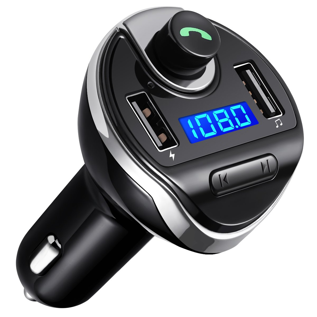 Criacr Bluetooth FM Transmitter, Universal Car Charger with Dual USB Charging Ports, Wireless in-Car FM Transmitter Radio Adapter Car Kit, Hands Free Calling for iPhone, Samsung, etc