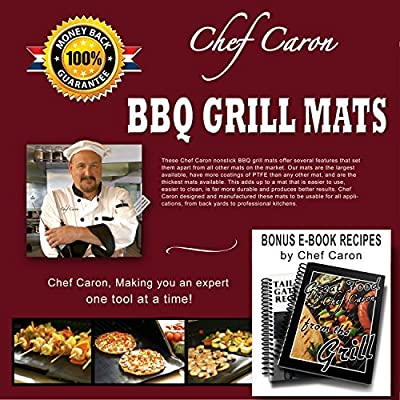 BBQ Grill Mat by Chef Caron Designed for the Professional Gift Set of 2 Mats - Nonstick PTFE, Ultra-slick, Extra Thick .25mm - Xtra Large - Expand Your Grilling Options & Keep Your Grill Spotless from Chef Caron