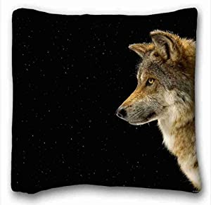 Generic Personalized ( Animals wolf profile snow ) Rectangle Pillowcase 16x16 inches (one side) suitable for Queen-bed PC-Orange-102