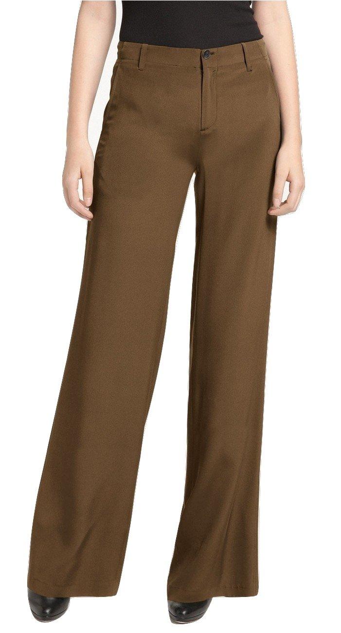 Vince Shimmering Crêpe de Chine Silk Wide Leg Pants Trousers, Twig, 2