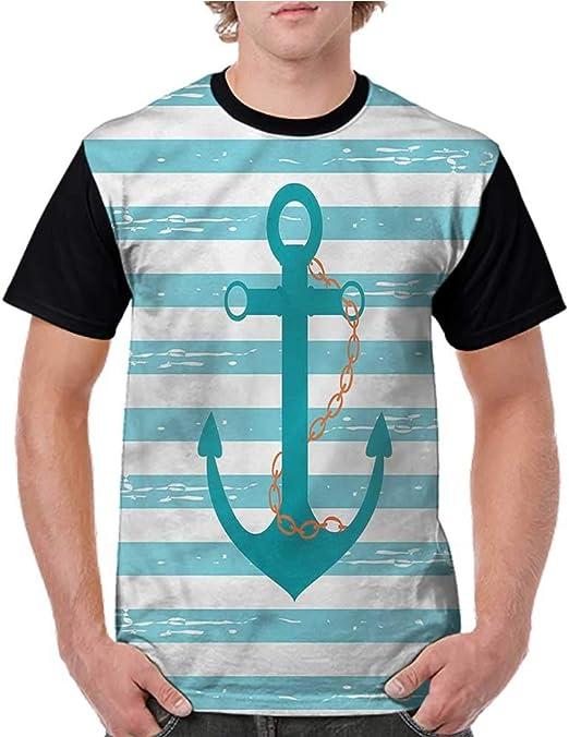 Tight Tops Tee,Teal,Ship Anchor Marine Life S-XXL Girls Short Sleeves Tight