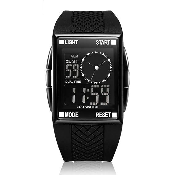Chico Reloj deportivo,30m impermeable Relojes electrónicos Pantalla de doble huso horario Luminoso Digital Cuadrado Niño] Resistente a los golpes-A: ...