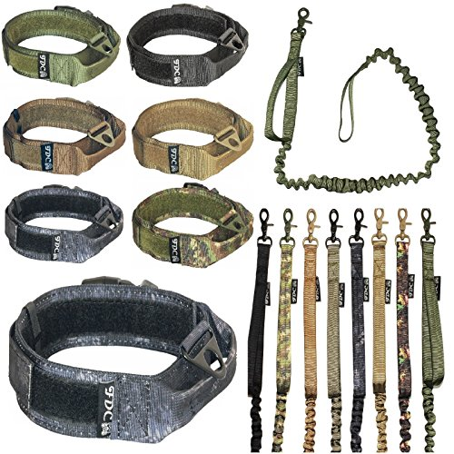 Plastic Dog Leash (FDC Dog Tactical COLLAR with LEASH Bungee Handle HEAVY DUTY Training Military Army Molle WIDTH 1.5in Plastic Buckle HOOK & LOOP (L: Neck 12