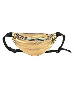 Faleto Mens Womens Fanny Pack Bag for Rave Festival Hologram Travel Waist Pack,Gold