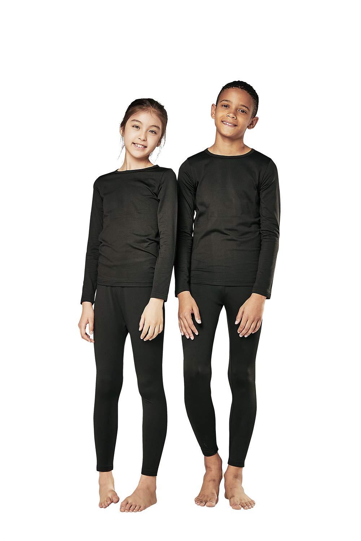 DEVOPS Boys & Girls Thermal Heat-Chain Microfiber Fleece Underwear Baselayer Top & Bottom (Long Johns) Set (Medium, Black) by DEVOPS