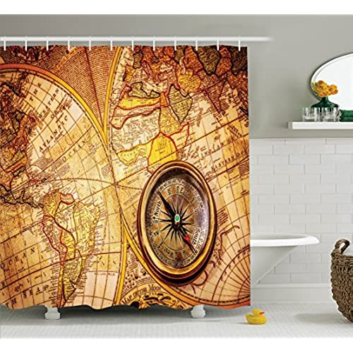 Map Shower Curtain Set Antique Decor By Ambesonne, Compass On An Ancient World  Map Historic Borders Century Old Antiquity, Bathroom Accessories, With  Hooks, ...